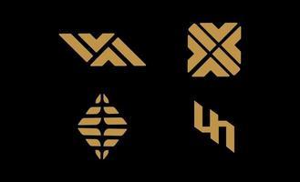 lyx abstrakt logotyp set design elegant vektor