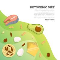 Flacher Ketogenic-Diät-Starter-Satz mit Steigungs-Hintergrund-Vektor-Illustration