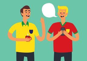 Vänner pratar fotboll