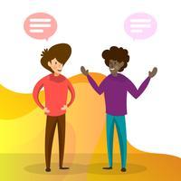 Flache Leute, die für Geschäfts-Team Work mit Steigungs-Hintergrund-Vektor-Illustration sprechen vektor