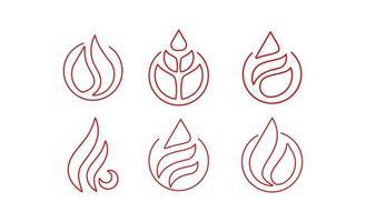 Feuerflamme Linie Kunst Logo Icon Design Vektor