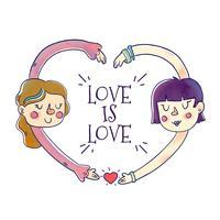Söta parflickor med kärlekscitationstecken att pride månad
