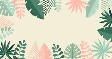 einfache tropische Palme und Motstera hinterlässt natürlichen flachen Hintergrund. Vektorillustration vektor
