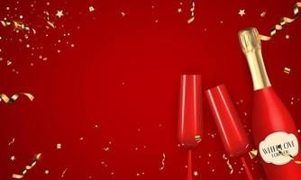 abstrakter roter Partyfeiertagshintergrund mit Konfetti und goldenem Band, Champagnerflasche und Glas. Vektorillustration vektor