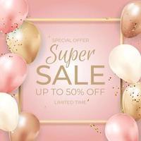 Super Sale zeitlich begrenzter Hintergrund mit Luftballons, goldenem Rahmen, Band und Konfetti. Vektorillustration vektor