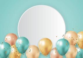 Party glänzender Feiertagshintergrund mit Luftballons, leerem Rahmen und Konfetti. Vektorillustration vektor