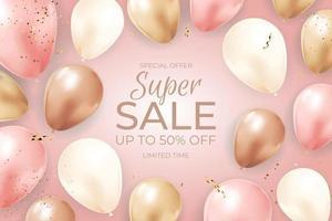 Super Sale zeitlich begrenzter Hintergrund mit Luftballons, goldenem Band und Konfetti. Vektorillustration vektor