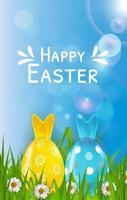 Påsk affisch mall med 3d realistiska ägg, gräs och vår bakgrund. mall för reklam, affisch, flygblad, gratulationskort. vektor illustration