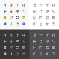 hälsa och fitness silhuett ikoner platt linje design vektor set.