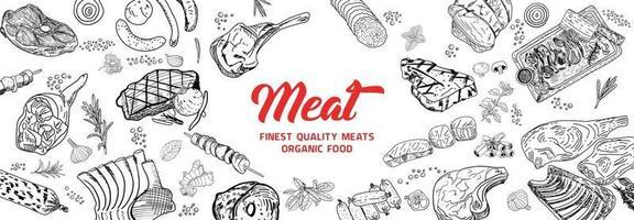 Fleischprodukte. Draufsichtrahmen. handgezeichnete Illustration. Stücke Fleisch Design-Vorlage. graviertes Design. ideal für das Verpackungsdesign. Vektorillustration. vektor