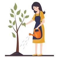 Eine junge Frau gießt einen Baum. landwirtschaftliche Arbeit. Gartenarbeit. Vektorillustration in einem flachen Stil. vektor