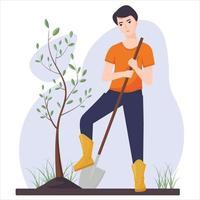 Ein junger Mann pflanzt einen Baum. landwirtschaftliche Arbeit. Gartenarbeit. Vektorillustration in einem flachen Stil. vektor