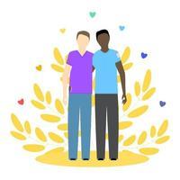 zwei schwule Kerle, schwarz und weiß. lgbt Paar. schwule Beziehung. Konzeptvektorillustration. vektor