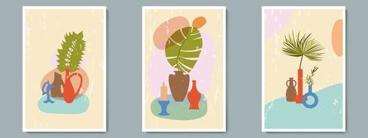 handgezeichnete Keramikvase mit tropischen Pflanzen und einfacher abstrakter Form. trendige Collage zur Dekoration mit Grunge-Textur.
