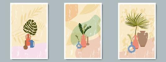 handgezeichnete Keramikvase mit tropischen Pflanzen und abstrakter Form. trendige Collage zur Dekoration am Grunge-Hintergrund vektor