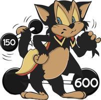 braune starke Katze, die Langhantel mit dem Schwanz hebt vektor