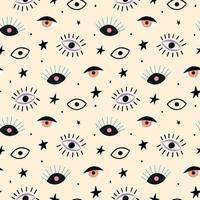 Hand gezeichnete Augen nahtloses Muster vektor