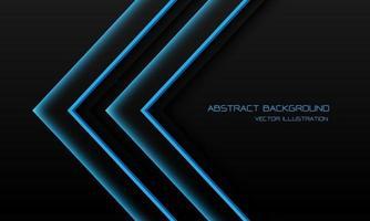 abstrakt blått ljus neon pil riktning på svart med tomt utrymme design modern futuristisk teknik bakgrund vektorillustration. vektor