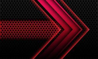 abstrakt röd metallisk pil skugga geometrisk riktning på svart cirkel mesh med banner tomt utrymme design modern futuristisk teknik bakgrund vektorillustration. vektor