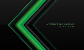 abstrakt grön metallisk pilriktning på svart med tomt utrymme design modern futuristisk teknik bakgrund vektorillustration. vektor