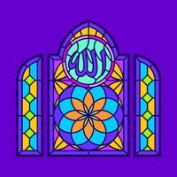 Allah-Buntglas-Fenster-Vektor vektor