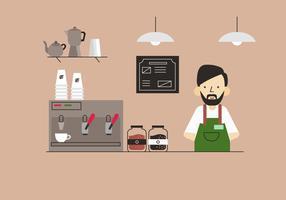 Barista bei Coffe-Shop-Tabellen-flacher Vektor-Hintergrund-Illustration