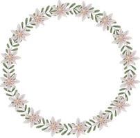 Vektorkranz von wilden Gänseblümchen und grünen Akazienblättern. Der Rahmen bietet Platz für Text. vektor