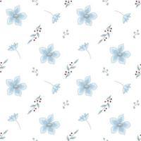 Vektor nahtloses Muster aus blauen Blumen und roten Beeren. digitales papier von nemophilus american vergiss mich nicht. Myosotis Tapete
