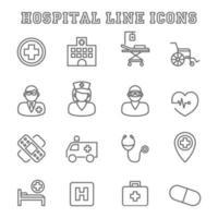 Krankenhauslinie Symbole vektor