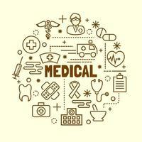 medizinische minimale dünne Linie Symbole gesetzt vektor