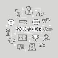 Fußball minimale Umrissikonen vektor