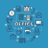 Büro minimale Umriss Symbole vektor
