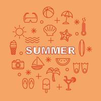 Sommer minimale Umrissikonen vektor