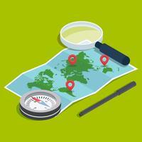 Kompass isometrischer Vektor