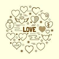 Herz minimale dünne Linie Symbole gesetzt vektor