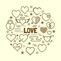 hjärta minimal tunn linje ikoner set vektor