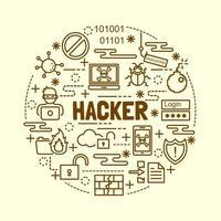 Hacker minimale dünne Linie Symbole gesetzt vektor