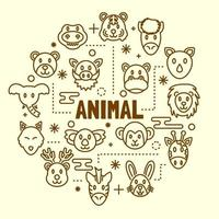 djur minimal tunn linje ikoner set vektor