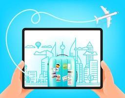 Weltreisevektor-Konzept. Mann hält modernen Tablet-Computer vektor