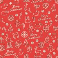 nahtloses Weihnachtsmuster mit Linienikonen vektor