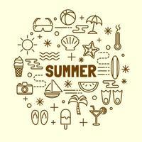 Sommer minimale dünne Linie Symbole gesetzt vektor