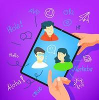 menschliche Geste mit Tablet-Computer. Sag Hallo in verschiedenen Sprachen vektor