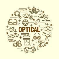 optische minimale dünne Linie Symbole gesetzt vektor
