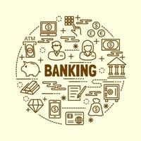 Banking minimale dünne Linie Symbole gesetzt vektor