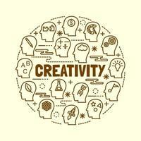 Kreativität minimale dünne Linie Symbole gesetzt vektor