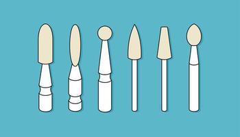 Bohrer für Maniküre. Nagelpflege, Schönheitsindustrie. Düsen für eine Maniküre-Maschine. vektor