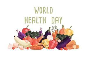 horizontale Plakatschablone des Weltgesundheitstages mit Sammlung von frischem Bio-Gemüse. bunte Hand gezeichnete Illustration auf weißem Hintergrund. vegetarisches und veganes Essen. vektor