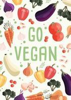 Gehen Sie vegane vertikale Plakatschablone mit Sammlung von frischem Bio-Gemüse. bunte Hand gezeichnete Illustration auf hellgrünem Hintergrund. vegetarisches und veganes Essen. vektor