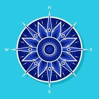 Flacher weiß-blauer Kompass-Vektor