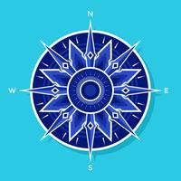 Flatvitblå kompassvektor
